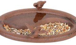 Bain pour oiseaux en fonte combiné avec mangeoire